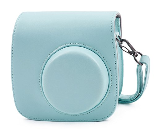 Leebotree Tasche Kompatibel mit Instax Mini 9 / Mini 8 8+ Sofortbildkamera aus Weichem Kunstleder mit Schulterriemen und Tasche (Ice Blau)