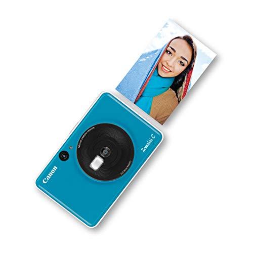 Canon Zoemini C Sofortbildkamera digital 5 MP (Sofortdruck, Sucher, Blitzlicht, Micro SD Kartenslot, Selfie Spiegel (11x8 mm), 5 x 7,6 cm Aufkleber, ZINK Druck tintenfrei) seaside blue