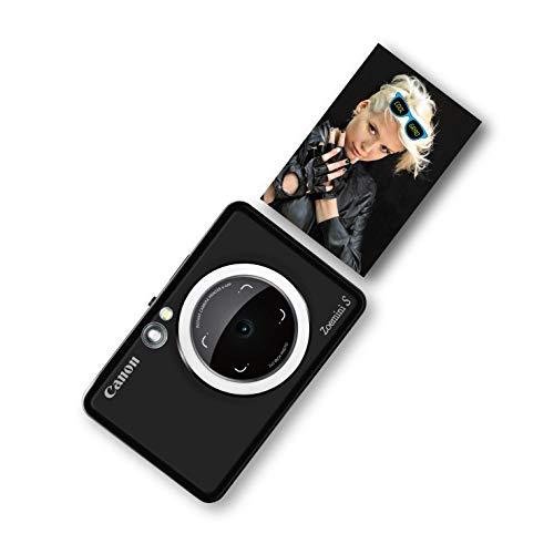 Canon Zoemini S Sofortbildkamera digital 8 MP (inkl. Mini Fotodrucker, Sucher, Ringblitz, Selfie Spiegel (36x24mm), Micro SD Kartenslot, Print App, ZINK-Druck tintenfrei, 188g), matte black