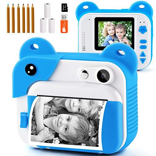PROGRACE Sofortdruckkamera für Kinder, Kinder Sofortbildkamera für Reisen Lernen Geburtstagsgeschenk, tragbare Digitale Kreativdruckkamera für Mädchen Zero Ink Kinderkamera Spielzeug mit Druckpapier