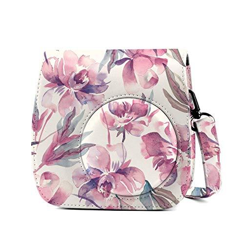 Leebotree Tasche Kompatibel mit Instax Mini 9 / Mini 8 8+ Sofortbildkamera aus Weichem Kunstleder mit Schulterriemen und Tasche (Blume)