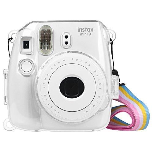 Fintie Klar Schutzhülle für Fujifilm Instax Mini 8 Mini 8+ Mini 9 Sofortbildkamera - Transparent Harteschale Hülle Tasche Kameratasche mit Abnehmbaren Regenbogen Riemen, Crystal Clear