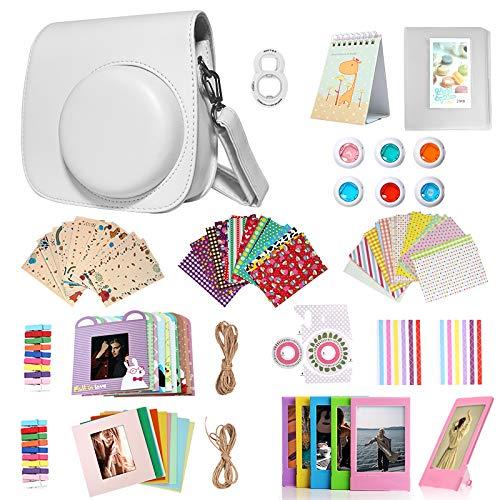 Homesuit 14-in-1-Zubehörset für Fujifilm Instax Mini 9/8/8 + Gehäuse/Album/Selfie-Objektiv/Filter/Filmrahmen/Wandbehangrahmen/Randaufkleber/Eckaufkleber/Filmkalender (Smokey White)