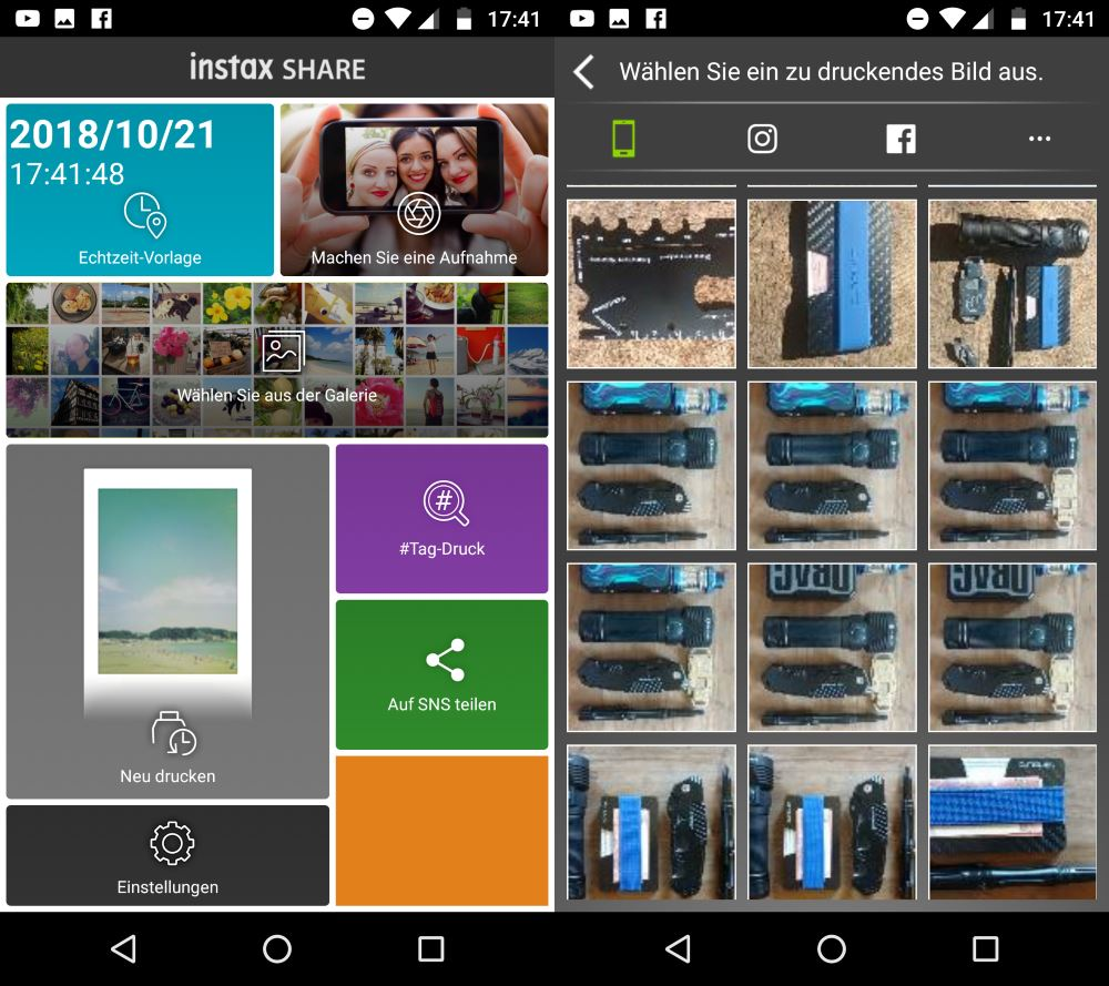 Instax Share App Startscreen und Fotos auswählen Screen