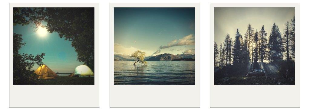 Bilder im Stile von Polaroidbildern in einer Reihe